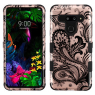 Military Grade Certified TUFF Hybrid Armor Case for LG G8 ThinQ - Phoenix Flower Rose Gold