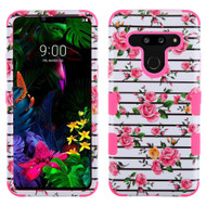 Military Grade Certified TUFF Hybrid Armor Case for LG G8 ThinQ - Pink Fresh Roses