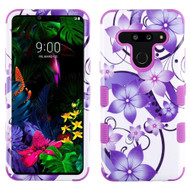 Military Grade Certified TUFF Hybrid Armor Case for LG G8 ThinQ - Purple Hibiscus Flower Romance