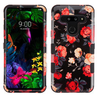 Military Grade Certified TUFF Hybrid Armor Case for LG G8 ThinQ - Red and White Roses