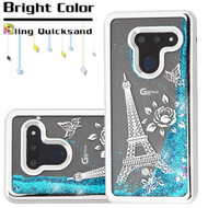 Electroplating Quicksand Glitter Transparent Case for LG G8 ThinQ - Eiffel Tower Silver
