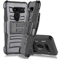 Advanced Armor Hybrid Kickstand Case with Belt Clip Holster for LG G8 ThinQ - Black