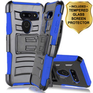 Advanced Armor Hybrid Kickstand Case with Holster and Tempered Glass Screen Protector for LG G8 ThinQ - Blue