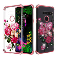 *Sale* Klarion Crystal Clear Diamond Tough Case for LG G8 ThinQ - Pink Peony