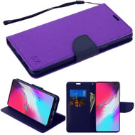 Crossgrain Series Diary Leather Wallet Stand Case for Samsung Galaxy S10 5G - Purple Navy Blue