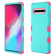 *Sale* Military Grade Certified TUFF Hybrid Armor Case for Samsung Galaxy S10 5G - Teal Green Hot Pink