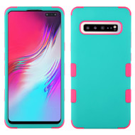 Military Grade Certified TUFF Hybrid Armor Case for Samsung Galaxy S10 5G - Teal Green Hot Pink 048