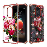 Klarion Crystal Clear Diamond Case for LG Aristo 3 / Aristo 2 Plus / Fortune 2 / Tribute Empire - Pink Peony