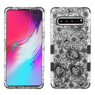 Military Grade Certified TUFF Hybrid Armor Case for Samsung Galaxy S10 5G - Four Leaf Clover Silver