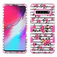 Military Grade Certified TUFF Hybrid Armor Case for Samsung Galaxy S10 5G - Pink Fresh Roses