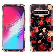 Military Grade Certified TUFF Hybrid Armor Case for Samsung Galaxy S10 5G - Red and White Roses