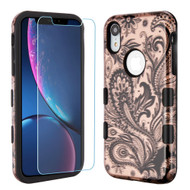 TUFF Lyte Hybrid Armor Case and Tempered Glass Screen Protector for iPhone XR - Phoenix Flower Rose Gold