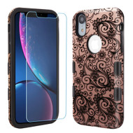 TUFF Lyte Hybrid Armor Case and Tempered Glass Screen Protector for iPhone XR - Four Leaf Clover Rose Gold