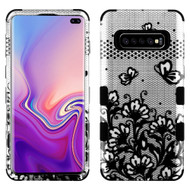 Military Grade Certified TUFF Hybrid Armor Case for Samsung Galaxy S10 Plus - Lace Flower Silver