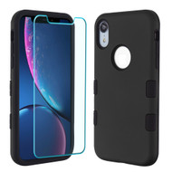 TUFF Lyte Hybrid Armor Case and Tempered Glass Screen Protector for iPhone XR - Black