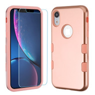 TUFF Lyte Hybrid Armor Case and Tempered Glass Screen Protector for iPhone XR - Rose Gold