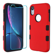 TUFF Lyte Hybrid Armor Case and Tempered Glass Screen Protector for iPhone XR - Red