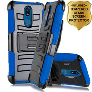 *Sale* Advanced Armor Hybrid Kickstand Case with Holster and Tempered Glass Screen Protector for LG K40 - Blue