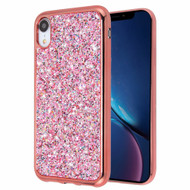 Flakes Series Electroplating Glitter Case for iPhone XR - Rose Gold
