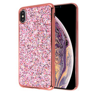 Flakes Series Electroplating Glitter Case for iPhone XS Max - Rose Gold