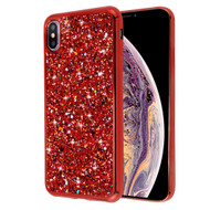 Flakes Series Electroplating Glitter Case for iPhone XS Max - Red