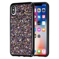 Flakes Series Electroplating Glitter Case for iPhone XS / X - Black