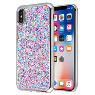Flakes Series Electroplating Glitter Case for iPhone XS / X - Purple