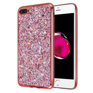 Flakes Series Electroplating Glitter Case for iPhone 8 Plus / 7 Plus - Rose Gold