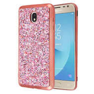 Flakes Series Electroplating Glitter Case for Samsung Galaxy J7 (2018) / J7 Refine / J7 Star - Rose Gold