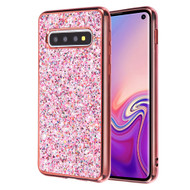 Flakes Series Electroplating Glitter Case for Samsung Galaxy S10 - Rose Gold