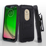3-IN-1 Kinetic Hybrid Armor Case with Holster and Tempered Glass Screen Protector for Motorola Moto G7 Play - Black
