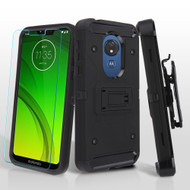 3-IN-1 Kinetic Hybrid Armor Case with Holster and Tempered Glass for Motorola Moto G7 Power / G7 Supra - Black