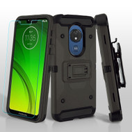3-IN-1 Kinetic Hybrid Armor Case with Holster and Tempered Glass for Motorola Moto G7 Power / G7 Supra - Dark Grey