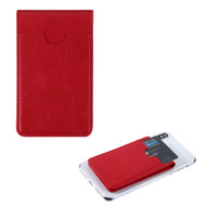 Leather Flip Adhesive Triple Slot Card Pocket Pouch with Snap Fastener - Red