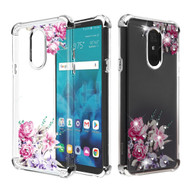 Klarion Crystal Clear Diamond Tough Case for LG Stylo 4 / Stylo 4 Plus - Romantic Love Flowers
