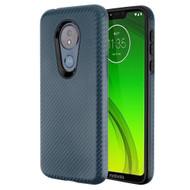 Carbon Fiber Hybrid Case for Motorola Moto G7 Power / G7 Supra - Slate Blue