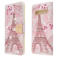 *Sale* Diamond Series Luxury Bling Portfolio Leather Wallet Case for Samsung Galaxy S10 5G - Eiffel Tower