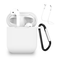 Silicone Protective Case and Anti-Lost Strap for Apple AirPods - White