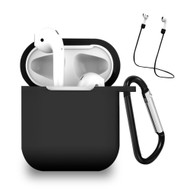 Silicone Protective Case and Anti-Lost Strap for Apple AirPods - Black