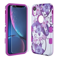TUFF Lyte Hybrid Armor Case and Tempered Glass Screen Protector for iPhone XR - Purple Hibiscus Flower Romance
