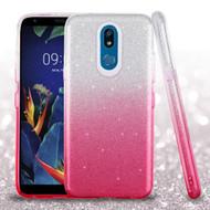 Full Glitter Hybrid Protective Case for LG K40 - Gradient Hot Pink