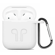 Silicone Protective Case with Carabiner Clip for Apple AirPods - White