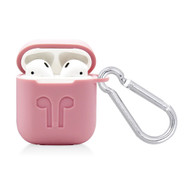 Silicone Protective Case with Carabiner Clip for Apple AirPods - Pink