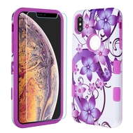 TUFF Lyte Hybrid Armor Case and Tempered Glass Screen Protector for iPhone XS Max - Purple Hibiscus Flower