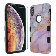 TUFF Lyte Hybrid Armor Case and Tempered Glass Screen Protector for iPhone XS Max - Marble Purple