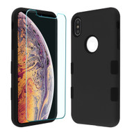 TUFF Lyte Hybrid Armor Case and Tempered Glass Screen Protector for iPhone XS Max - Black