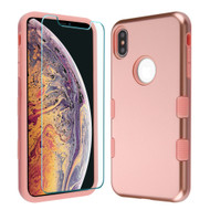 TUFF Lyte Hybrid Armor Case and Tempered Glass Screen Protector for iPhone XS Max - Rose Gold