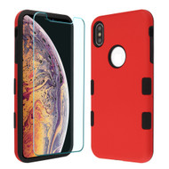 *Sale* TUFF Lyte Hybrid Armor Case and Tempered Glass Screen Protector for iPhone XS Max - Red