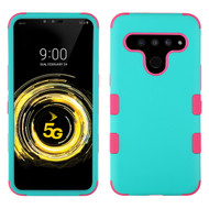 *Sale* Military Grade Certified TUFF Hybrid Armor Case for LG V50 ThinQ - Teal Green Hot Pink