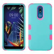 *Sale* Military Grade Certified TUFF Hybrid Armor Case for LG K40 - Teal Green Hot Pink